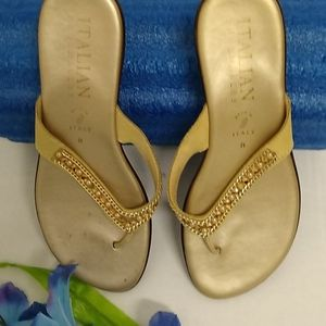 Ladies Italian Shoemakers Gold Wedge Sandals